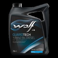 Фотография пятилитровой упаковки полусинтетического моторного масла WOLF GUARDTECH B4 10W40 Diesel