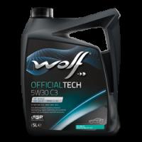 Фотография упаковки синтетического моторного масла WOLF OFFICIALTECH 5W30 C3